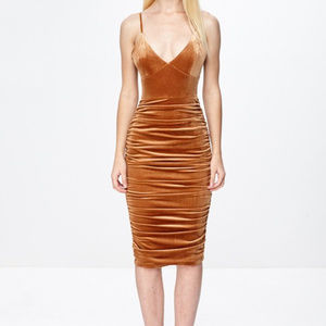 sexy velvet spaghetti strap fitted party dress